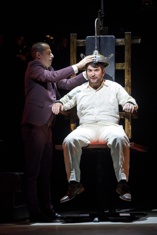 <p>Ethan Lipton (the Proprietor) and Alex Brightman (Giuseppe Zangara) in the Encores! Off-Center production of <em>Assassins</em>.</p><br />(© Joan Marcus)