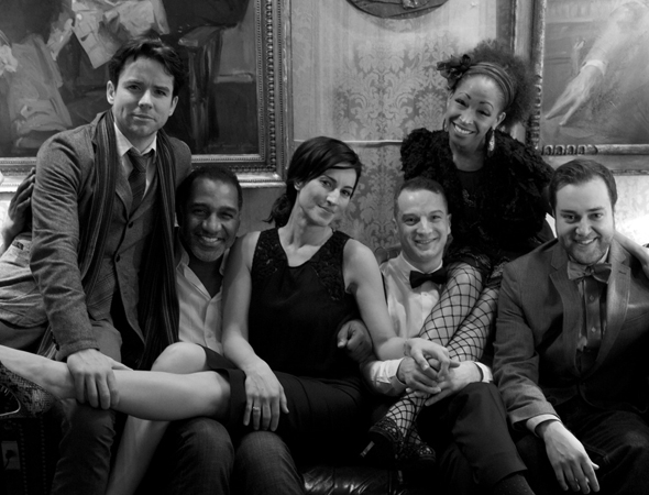 <p>Euan Morton (second from right) is joined by guests (from left) Christian Campbell, America Olivo, Norm Lewis, N&#39&#x3B;Kenge, and Michael Barra.</p><br />(© Christian Campbell)