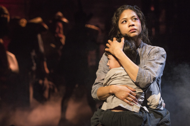 <p>Eva Noblezada embraces costar Samuel Li Weintraub in a scene from <em>Miss Saigon</em>.</p><br />(© Matthew Murphy)