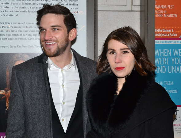 <p>Evan Jonigkeit, seen here with his lady friend, <em>Girls</em> star Zosia Mamet, appeared in Manhattan Theatre Club&#39&#x3B;s recent production of Sharr White&#39&#x3B;s <em>The Snow Geese</em>.</p><br />(© David Gordon)
