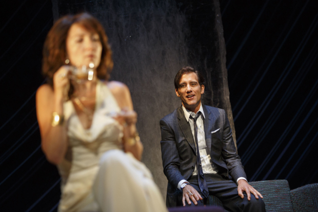 <p>Eve Best plays visitor Anna, who Deeley (Clive Owen) fetes with brandy and hot coffee served in chic transparent cups. </p><br />(© Joan Marcus)