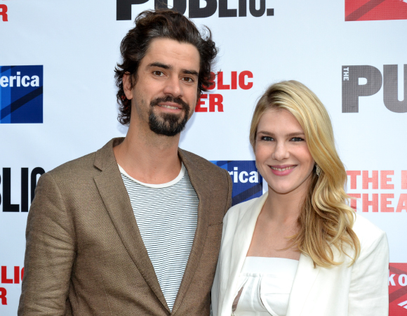 <p>Even though it was their night off from performing in <em>Much Ado About Nothing</em>, Hamish Linklater and Lily Rabe took in a show at the Delacorte to support The Public Theater.</p><br />(©  David Gordon)
