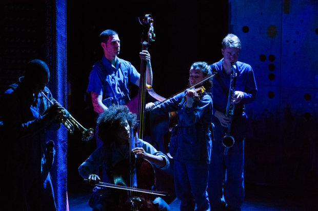 <p>Every member of the cast of <em>Futurity</em> plays an instrument. </p><br />(© Ben Arons)