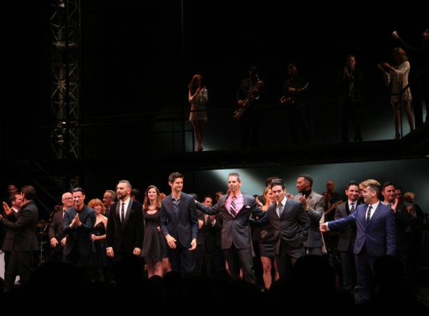 <p>Everyone in the <em>Jersey Boys</em> family comes onstage to celebrate.</p><br />(© David Gordon)