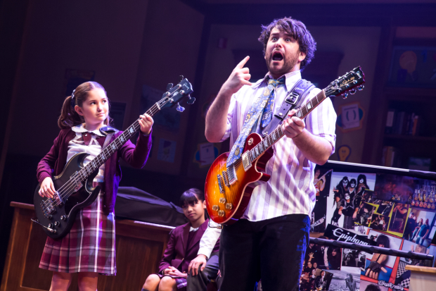 <p>Evie Dolan and Alex Brightman rock out in <em>School of Rock</em>.</p><br />(© Matthew Murphy)