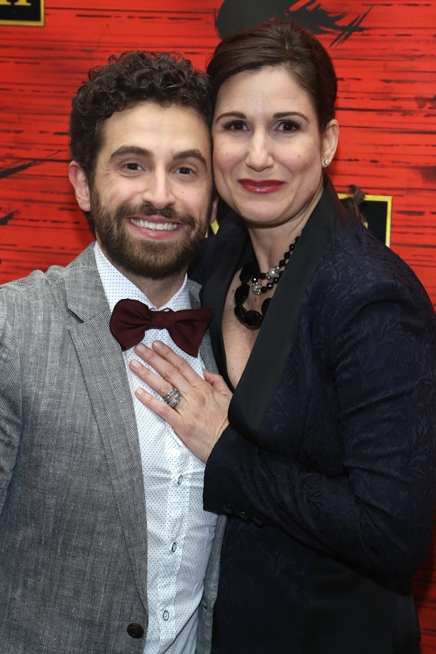 <p><em>Falsettos</em> onstage lovers Brandon Uranowitz and Stephanie J. Block attend the show together.</p><br />(© Tricia Baron)