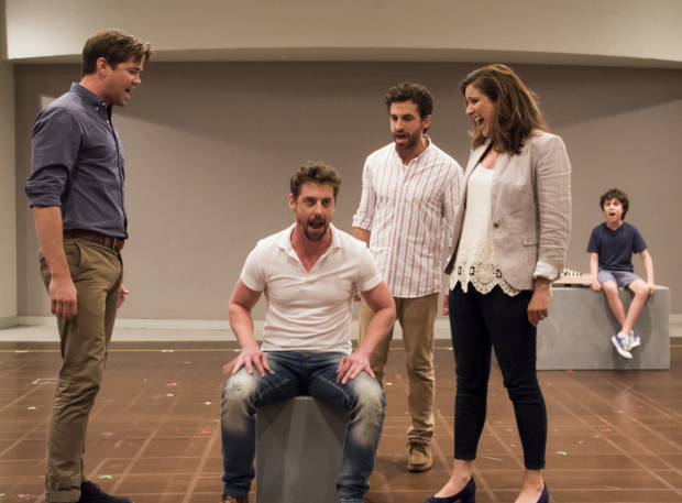 <p><em>Falsettos</em> stars Andrew Rannells, Christian Borle, Brandon Uranowitz, Stephanie J. Block, and Anthony Rosenthal  take the stage for a preview of the new revival.</p><br />(© David Gordon)