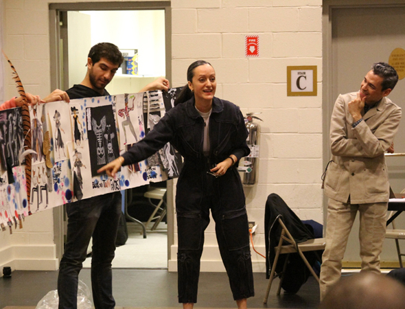 <p>Fashion designers Isabel and Ruben Toledo present their costume sketches.</p><br />(© Zac Payne)