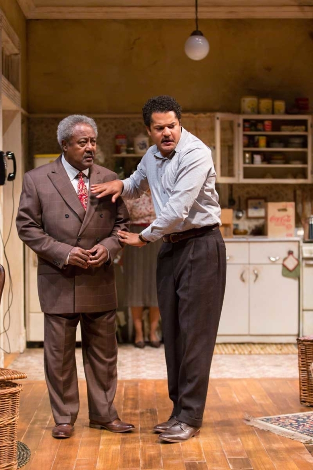 <p>Father and son acting team Willie Dirden and Brandon J. Dirden share the stage.</p><br />(© T. Charles Erickson)