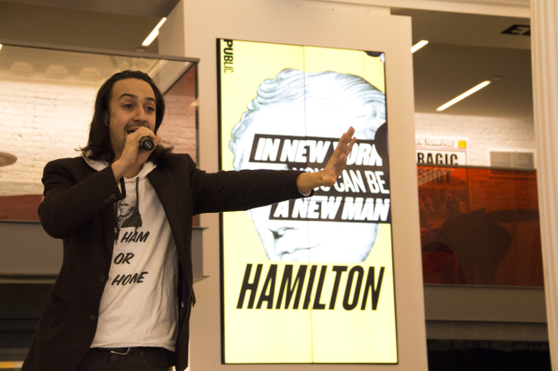 <p>February 24, 2015: In the lobby of the Public Theater, Miranda announces that <em>Hamilton</em> will transfer to Broadway&#39&#x3B;s Richard Rodgers Theatre in July.</p><br />(© David Gordon)