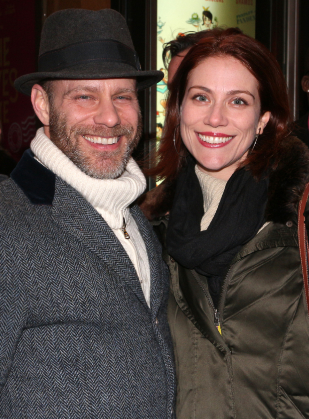 <p>Fiasco Theater members Noah Brody and Jessie Austrian head in to see <em>Noises Off</em>.</p><br />(© David Gordon)