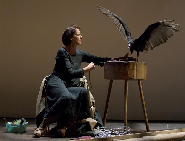 <p>Fiona Shaw and the Vulture in <em>The Testament of Mary</em>.</p><br />(© Paul Kolnik)