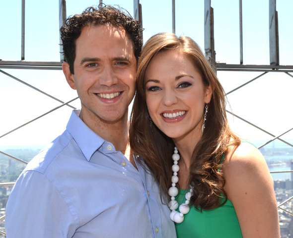 <p>Fontana and Osnes celebrate their 2013 Tony Award nominations atop the Empire State Building.</p><br />(© David Gordon)