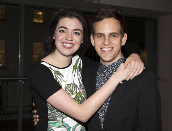 <p>Former <em>Bare</em> costars Barrett Wilbert Weed and Taylor Trensch give each other a hug.</p><br />(© Seth Walters)
