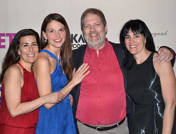 <p>Foster joins the creative team, Jeanine Tesori, Brian Crawley, and Leigh Silverman, for a celebratory photo.</p><br />(© David Gordon)