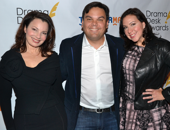 <p>Fran Drescher, Robert Lopez, and Kristen Anderson-Lopez pose for photos after the nominations announcement.</p><br />(© David Gordon)