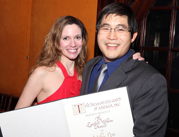 <p>Francine Volpe presents Mike Lew with the Lanford Wilson Award.</p><br />(© Douglas Gorenstein)