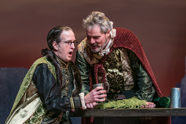 <p>Frank Ford (Matt Sullivan) dons a disguise to get Sir John Falstaff (David Andrew Macdonald) to reveal his intentions.</p><br />(© Jerry Dalia)