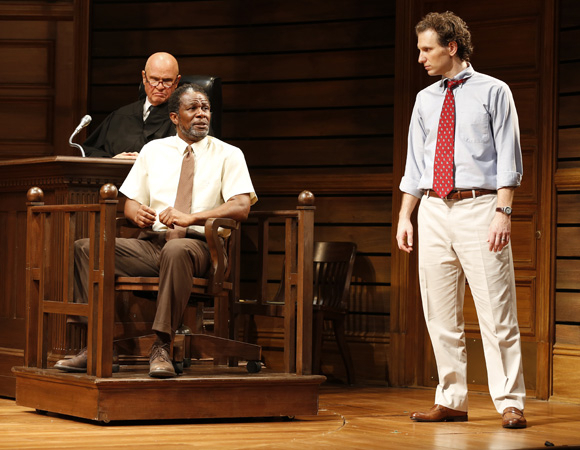 <p>Fred Dalton Thompson, John Douglas Thompson, and Sebastian Arcelus (small town attorney Jake Brigance) in <em>A Time to Kill</em>.</p><br />(© Carol Rosegg)