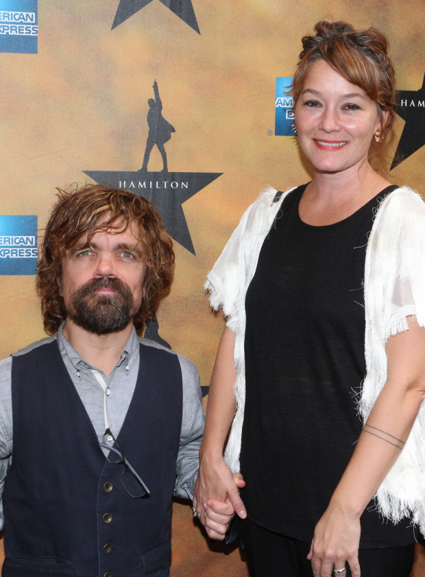 <p><em>Game of Thrones</em> star Peter Dinklage walks the red carpet with his wife, director Erica Schmidt. </p><br />(© David Gordon)