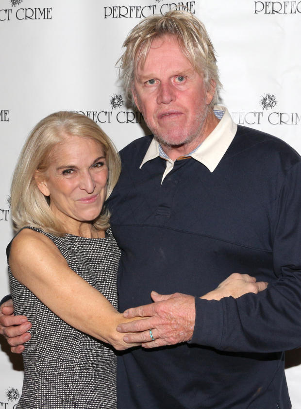 <p>Gary Busey poses with longtime <em>Perfect Crime</em> star and producer Catherine Russell.</p><br />(© David Gordon)