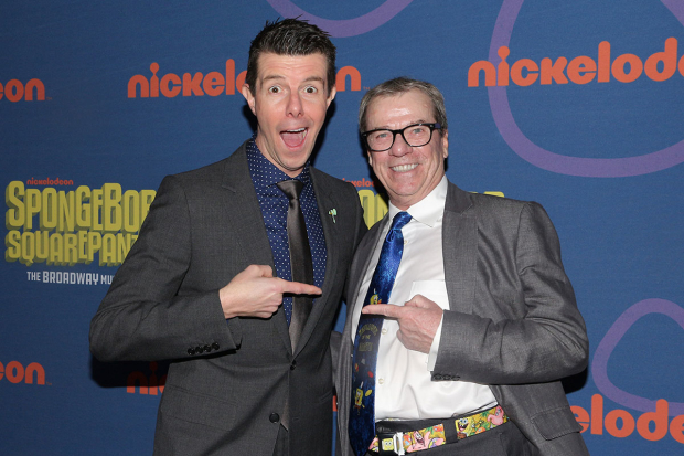 <p>Gavin Lee, who plays Squidward, meets Rodger Bumpass, who voices the role on TV.</p><br />(© David Gordon)