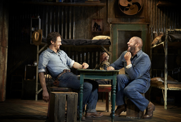 <p>George (James Franco) and Lennie (Chris O&#39&#x3B;Dowd) share a laugh in the bunkhouse in <em>Of Mice and Men</em>.</p><br />(© Richard Phibbs)