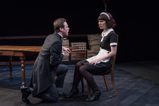 <p>George Merrick and Katie Kleiger share a scene in <em>Ring Twice for Miranda</em>, at New York City Center Stage II.</p><br />© Russ Rowland