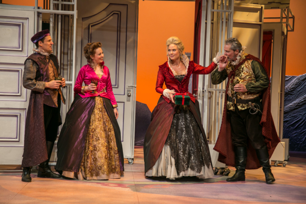 <p>George Page (Joey Collins) and Mistress Margaret Page (Saluda Camp) look on as Sir John Falstaff (David Andrew Macdonald) introduces himself to Mistress Alice Ford (Caralyn Kozlowski).</p><br />(© Jerry Dalia)