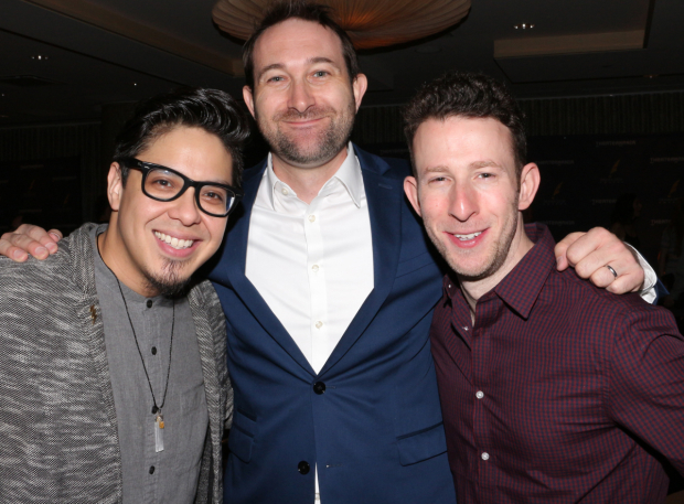 <p>George Salazar, Rob Rokicki, and Nick Blaemire celebrate their nominations.</p><br />(© David Gordon)
