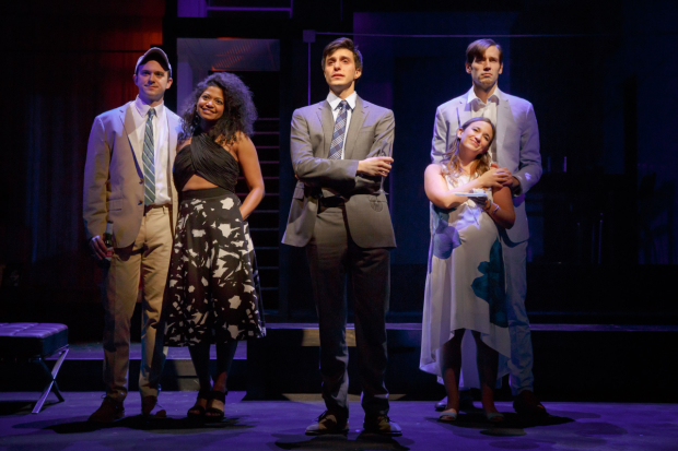 <p>Gideon Glick (center) stands alone as Luke Smith and Rebecca Naomi Jones (left), and Sas Goldberg and John Behlmann (right) pair off.</p><br />(© Joan Marcus)