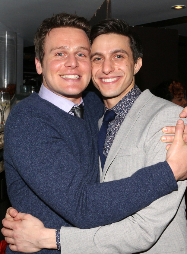 <p>Gideon Glick gets a congratulatory hug from his <em>Spring Awakening</em> costar Jonathan Groff.</p><br />(© David Gordon)
