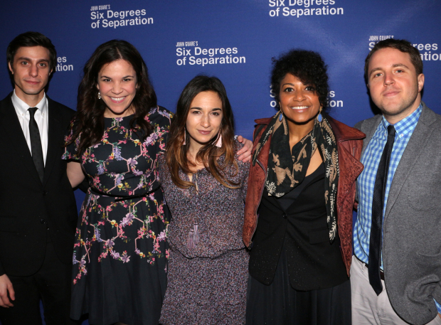 <p>Gideon Glick, Lindsay Mendez, Sas Goldberg, Rebecca Naomi Jones, and Joshua Harmon all came to support their <em>Significant Other</em> director, Trip Cullman.</p><br />(© David Gordon)