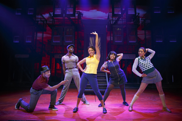 <p>Gilbert L. Bailey II, Bradley Gibson, Ariana DeBose, Trista Dollison, and Christiani Pitts in <em>A Bronx Tale</em>.</p><br />(© Joan Marcus)