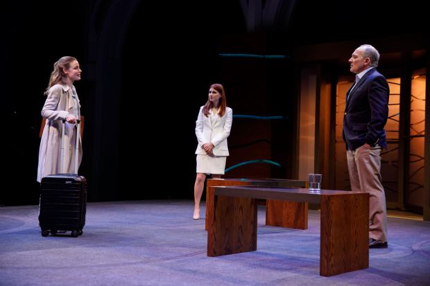 <p>Gillian Jacobs, Aya Cash, and Zach Grenier in the world premiere of <em>Kings</em>.</p><br />(© Joan Marcus)