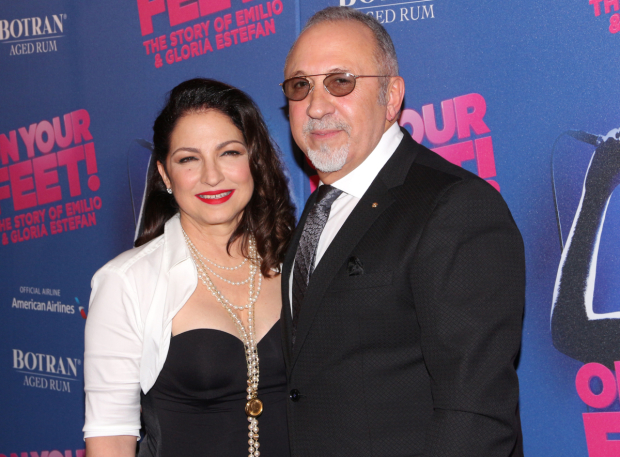 <p>Gloria Estefan and Emilio Estefan are thrilled to attend the opening night of their musical biography, <em>On Your Feet!</em></p><br />(© David Gordon)