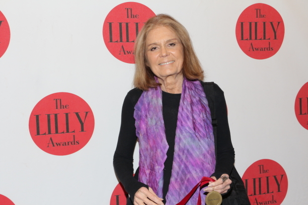 <p>Gloria Steinem is on hand to present the Lilly Award in Activism to Kathy Najimy.</p><br />(© David Gordon)