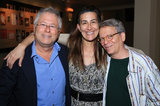 <p><em>God Bless You, Mr. Rosewater</em> lyricist Alan Menken (left) celebrates the production with Encores! Off-Center Artistic Director Jeanine Tesori and orchestrator Danny Troob.</p><br />(© Tricia Baron)