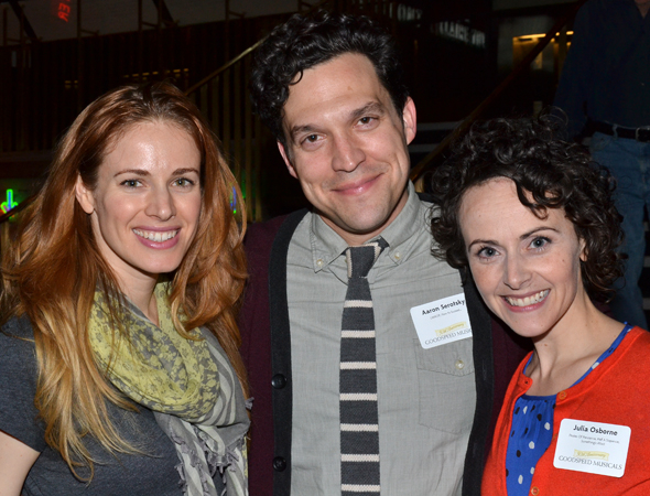 <p>Goodspeed alums Teal Wicks, Aaron Serotsky, and Julia Osborne are all smiles as they celebrate the great theater company.</p><br />(© David Gordon)