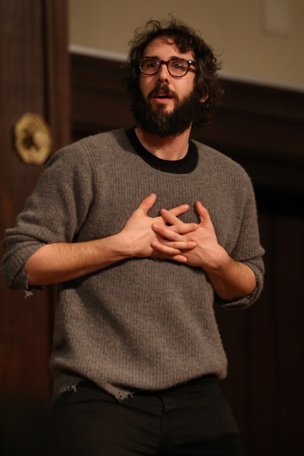 <p><em>Great Comet</em> star Josh Groban was on hand to lend his voice to the session.</p><br />(© Tricia Baron)