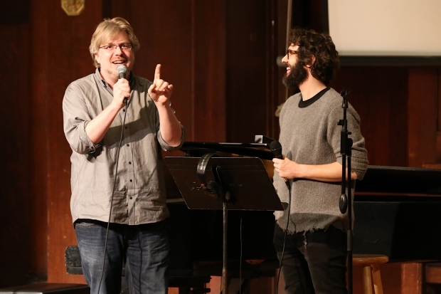 <p><em>Great Comet</em> writer Dave Malloy and star Josh Groban welcome fans to the &quot&#x3B;recording studio.&quot&#x3B;</p><br />(© Tricia Baron)