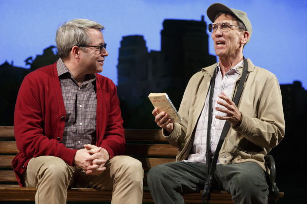 <p>Greg (Matthew Broderick) chats with fellow dog owner Tom (Robert Sella) about a new book.</p><br />(© Joan Marcus)