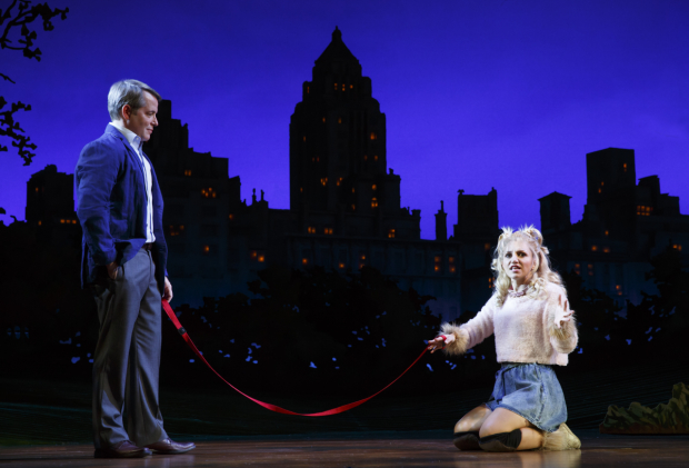 <p>Greg (Matthew Broderick) discovers Sylvia (Annaleigh Ashford) in Central Park and brings her home.</p><br />(© Joan Marcus)