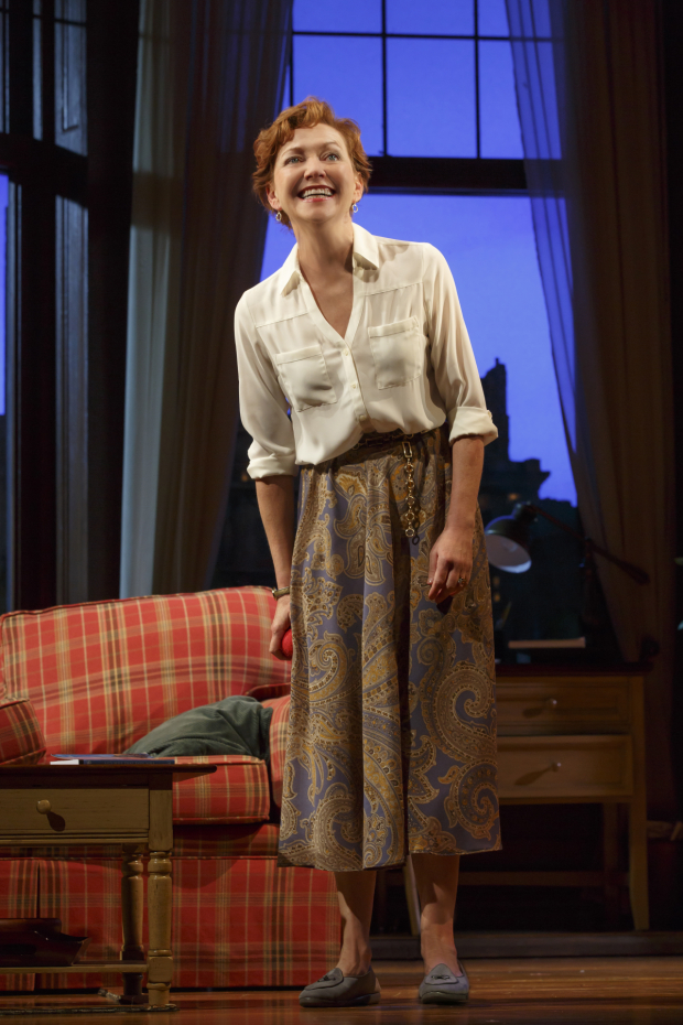 <p>Greg&#39&#x3B;s wife, Kate (Julie White), is not happy about Sylvia.</p><br />(© ©2015 Joan Marcus)