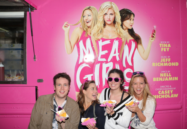 <p>Grey Henson, Erika Henningsen, Barrett Wilbert Weed, and Kate Rockwell show off their lunch.</p><br />(© David Gordon)