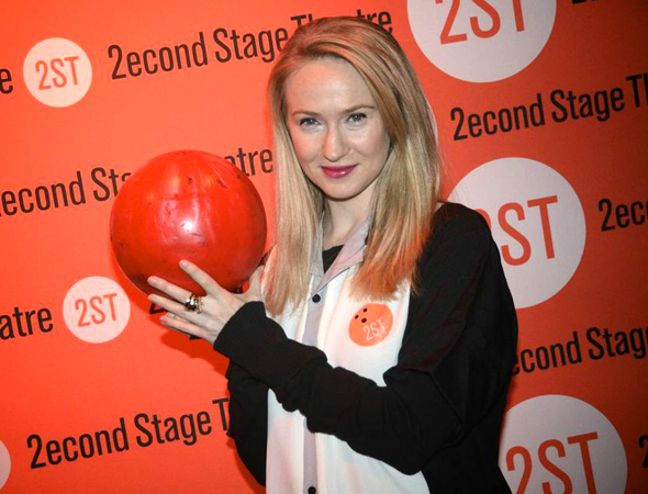 <p>Halley Feiffer shows off her bowling ball of choice.</p><br />(© Nessie Nankivell)