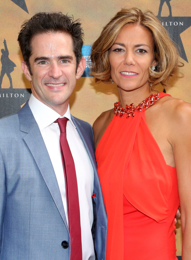 <p><em>Hamilton</em> choreographer Andy Blankenbuehler, with his wife, Elly, get ready to see the show.</p><br />(© David Gordon)