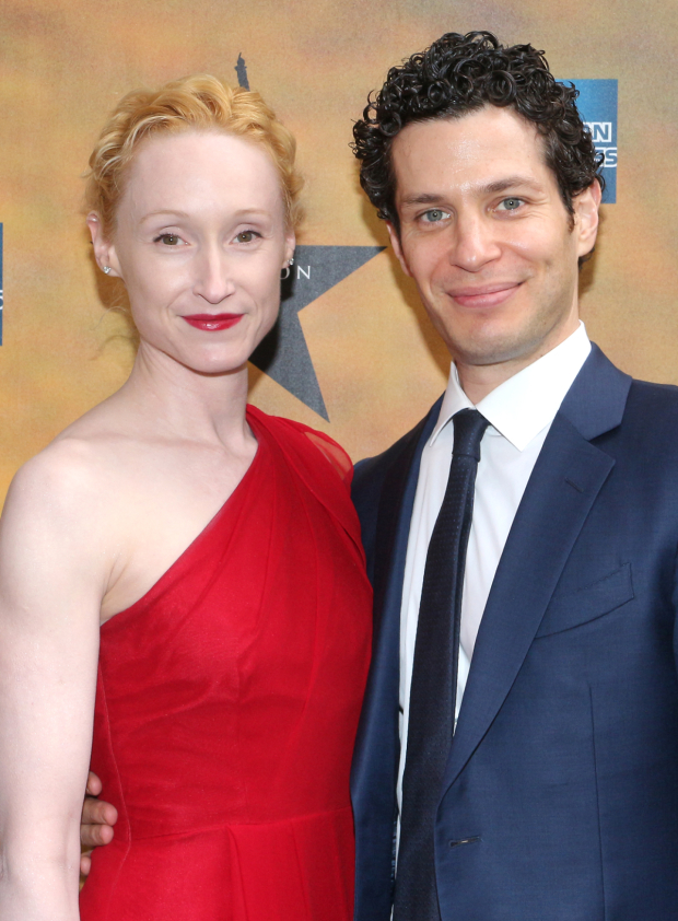 <p><em>Hamilton</em> director Thomas Kail and his wife, actress Angela Christian, celebrate opening night.</p><br />(© David Gordon)