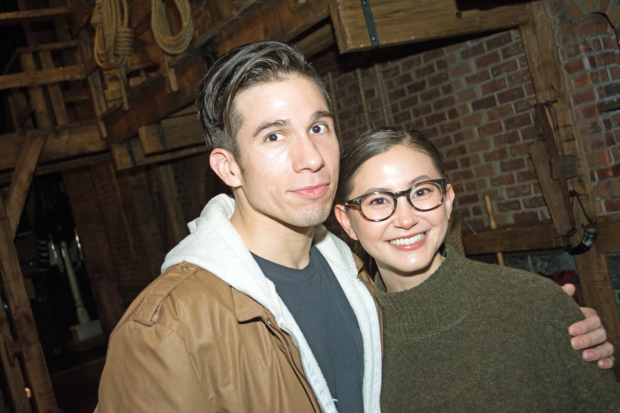 <p><em>Hamilton</em> ensemble member Jon Rua catches up with <em>Orange Is the New Black</em> cast member Kimiko Glenn.</p><br />(© Kristin Goehring)