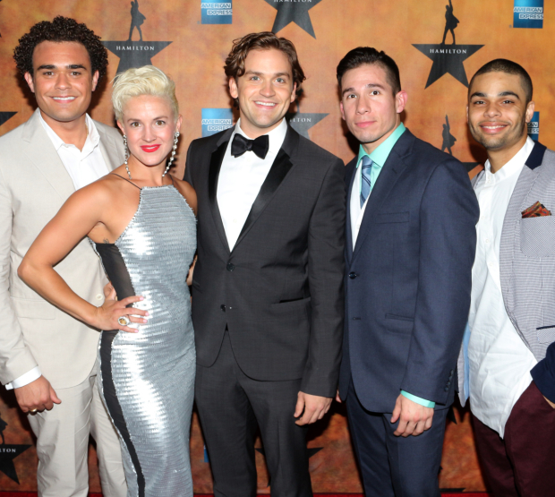 <p><em>Hamilton</em> ensemble members Andrew Chappelle, Betsy Struxness, Neil Haskell, Jon Rua, and Voltaire Wade-Green are thrilled to celebrate their opening night.</p><br />(© David Gordon)